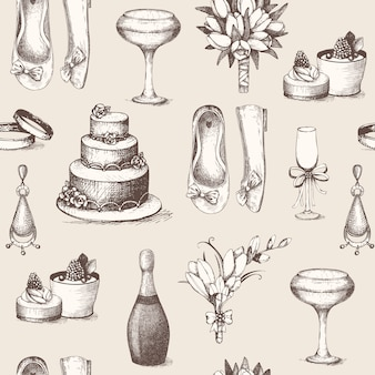 Seamless pattern  with vintage ink hand drawn wedding illustration.