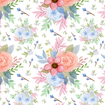 Seamless pattern with vintage watercolor flowers