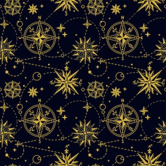 Seamless pattern with vintage wind rose. nautical background. retro hand drawn