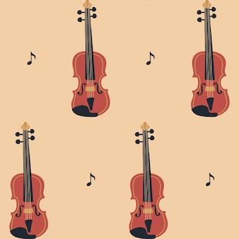 바이올린 또는 첼로와 악보 음악의 날 벡터 악기 세트와 원활한 패턴