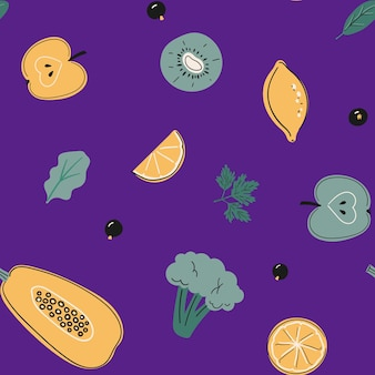 Бесшовный фон с источниками витамина с, здоровая пища, фрукты, овощи и ягоды