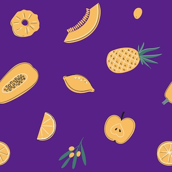 Seamless pattern with vitamin c sources healfy food fruits vegetables and berries