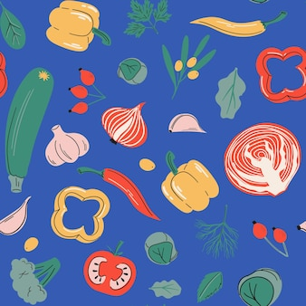 Seamless pattern with vitamin c sources healfy food vegetables and berries