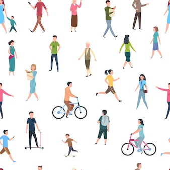 Seamless pattern with walking people illustration