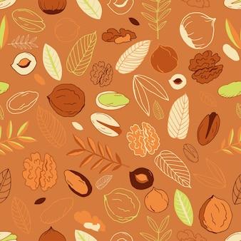 茶色の背景にクルミ、ヘーゼルナッツと葉のピスタチオとのシームレスなパターン。走り書き。ナッツ全体、皮をむいたものと剥がしていないもの。ベクトルイラスト