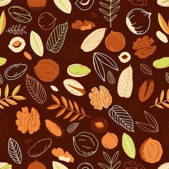 クルミ、ヘーゼルナッツとピスタチオ、オリーブの背景の葉とのシームレスなパターン。落書き。ナッツ全体、皮をむいたものと剥がしていないもの。