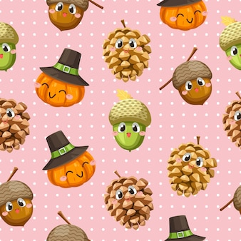 Seamless pattern with walnuts, pumpkins and dried pine cones.