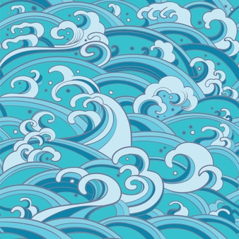 Seamless pattern with water waves and splashes