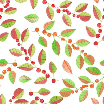 Seamless pattern with watercolor abstract red berries