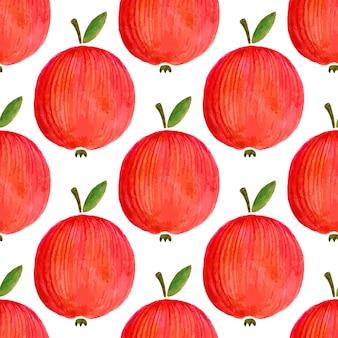 水彩のりんごとシームレスなパターン。あなたのデザインの水彩リンゴ