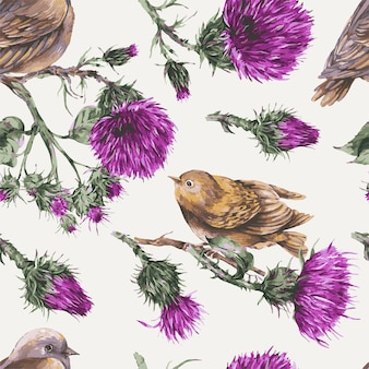 Seamless pattern with watercolor bird on a branch wallpaper