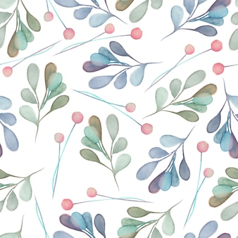 Seamless pattern with watercolor blue branches