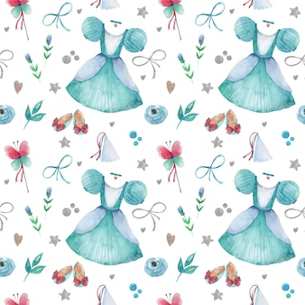 Seamless pattern with watercolor blue little princess elements