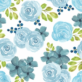 Seamless pattern with watercolor blue rose floral
