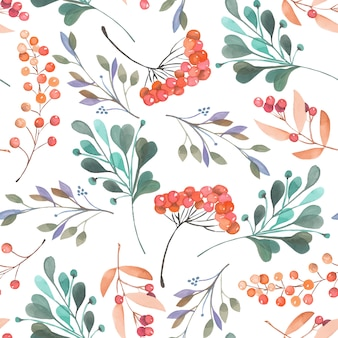 Seamless pattern with watercolor branches and berries
