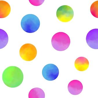白い背景の上の水彩画の円とのシームレスなパターン。
