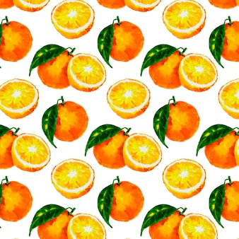 Seamless pattern with  watercolor citrus: lemon, orange, grapefruit