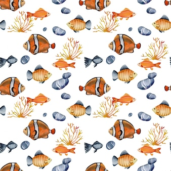 Seamless pattern with watercolor clown fishes