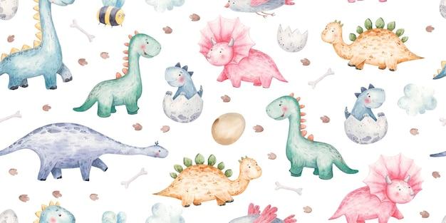 Бесшовный фон с акварельными милыми детскими динозаврами