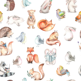 Seamless pattern with watercolor cute forest animals