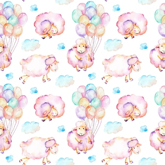 Seamless pattern with watercolor cute pink sheeps