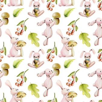 Seamless pattern with watercolor cute rabbits and autumn plants