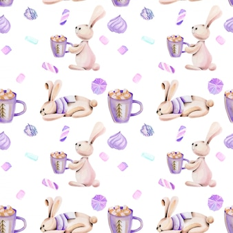 Seamless pattern with watercolor cute rabbits and marshmallow