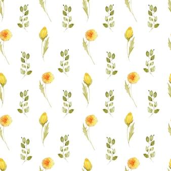 水彩タンポポの花と葉とのシームレスなパターン
