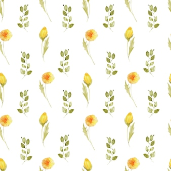 Seamless pattern with watercolor dandelion flowers and leaves
