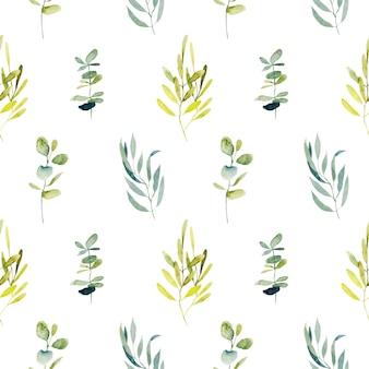 水彩ユーカリの枝と緑の植物とのシームレスなパターン