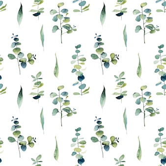 Seamless pattern with watercolor eucalyptus branches and green leaves