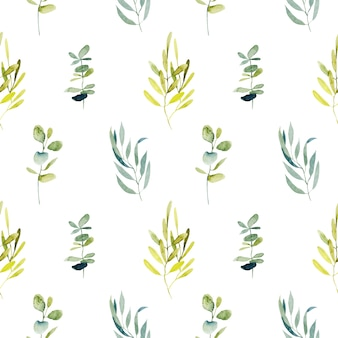 Seamless pattern with watercolor eucalyptus branches and green plants