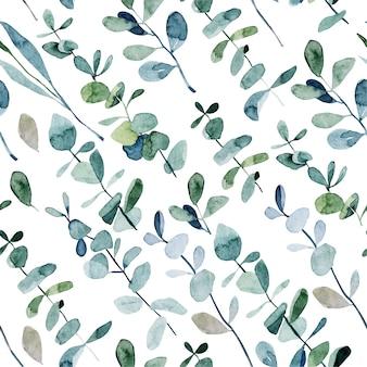 水彩ユーカリの枝、白い背景の手描きイラストとのシームレスなパターン