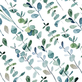 Seamless pattern with watercolor eucalyptus branches, hand drawn illustration on white background