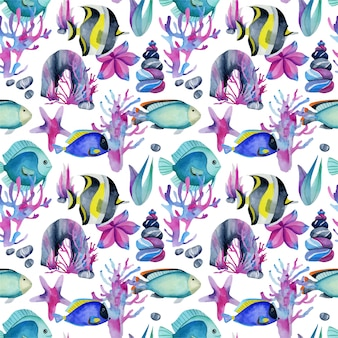 Seamless pattern with watercolor fish surgeon