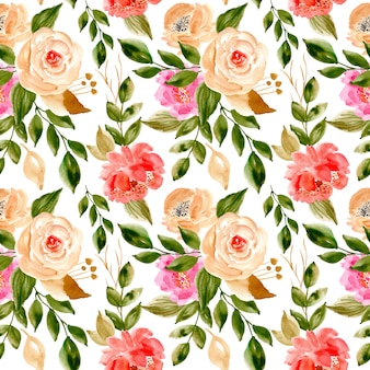 Seamless pattern with watercolor floral and leaves