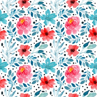 Seamless pattern with watercolor floral red flower