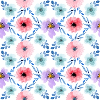 Seamless pattern with watercolor floral