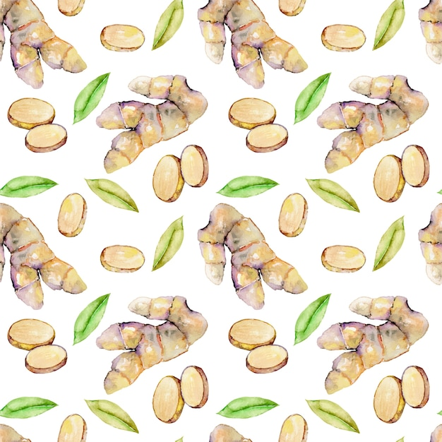 Seamless pattern with watercolor ginger elements