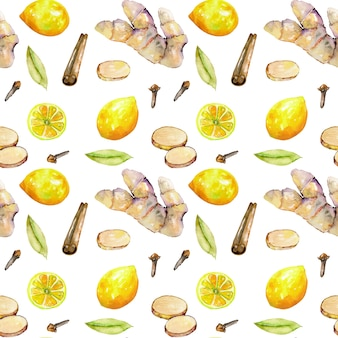 Seamless pattern with watercolor ginger, lemon and spices