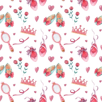Seamless pattern with watercolor girlish accessories