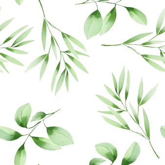 Seamless pattern with watercolor green branches