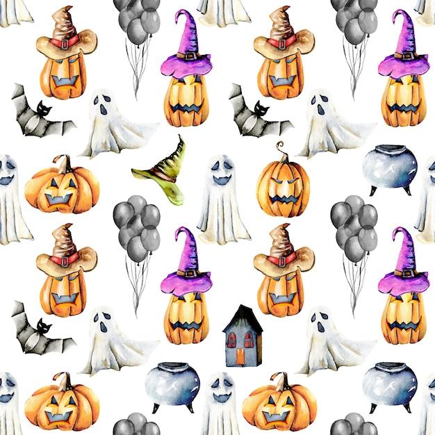 Бесшовный узор с акварельными предметами хэллоуина