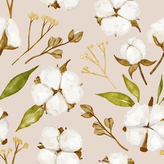 水彩手描きの綿の花とシームレスなパターン