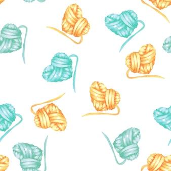 糸の水彩ハートボールとシームレスなパターン