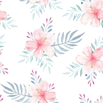 Seamless pattern with watercolor hibiscus summer concept