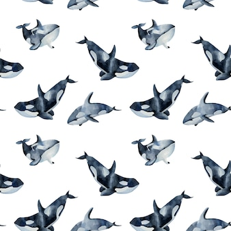 Seamless pattern with watercolor killer whales