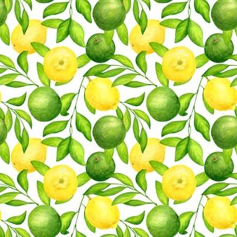 水彩のライム、レモン、葉とのシームレスなパターン
