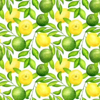 Seamless pattern with watercolor limes, lemons and leaves
