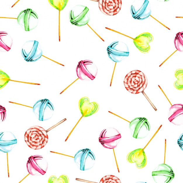 Seamless pattern with watercolor lollipop